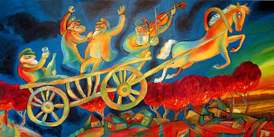 Jerusalem Painting - On The Road To Rebbe by Leon Zernitsky