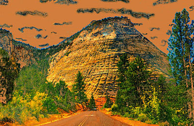Zion National Park Digital Art - On The Road To Zion by David Lee Thompson