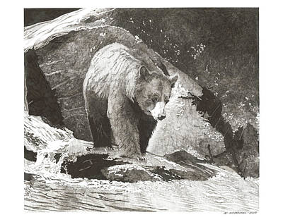 Wall Art - Drawing - On The Rocks by Paul Shafranski