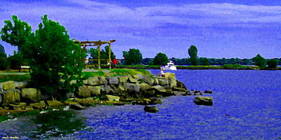 Summer Along The Canal Painting - On The Rocks Waiting For The Boats To Pass By Lachine Canal Montreal Summer Scenes Carole Spandau by Carole Spandau