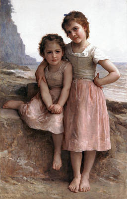 Young Digital Art - On The Rocky Beach by William Bouguereau