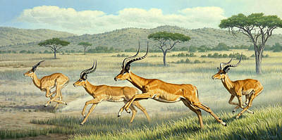 African Landscape Painting - On The Run -  Impala by Paul Krapf