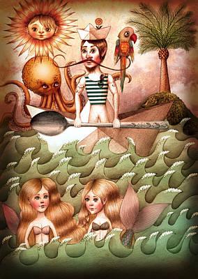 Oars Mixed Media - On The Sea by Zuzana Dolinay