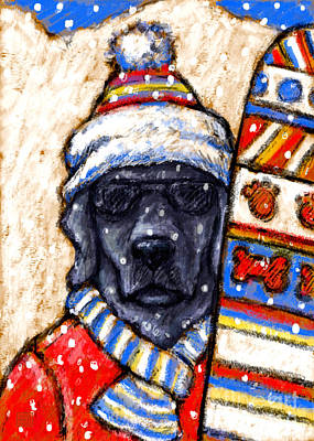 Black Lab Mixed Media - On The Slopes - Black by Kathleen Harte Gilsenan