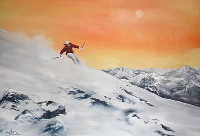 On The Slopes Art Print by Jean Walker