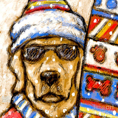 On The Slopes - Yellow Labrador Retriever Going Skiing Or Snowboarding Art Print