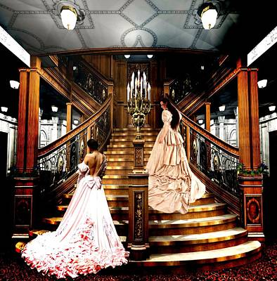On The Staircase Of Titanic Print by Amanda Struz