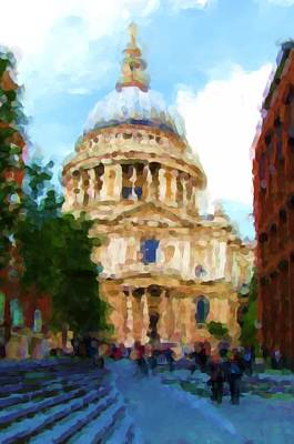 On The Steps Of Saint Pauls Print by Jenny Armitage