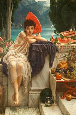 Watermelon Painting - On The Temple Steps, 1889 by Sir Edward John Poynter
