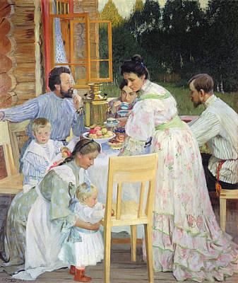 Conversing Photograph - On The Terrace, 1906 Oil On Canvas by Boris Mikhailovich Kustodiev