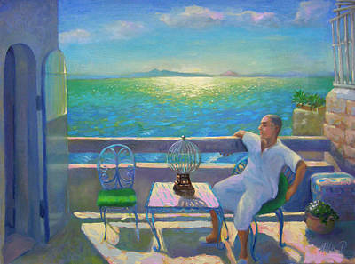 Art Print featuring the painting On The Terrace by Alla Parsons