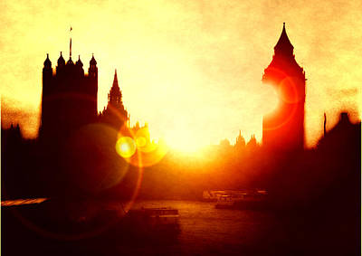 Art Print featuring the digital art Big Ben On The Thames by Fine Art By Andrew David