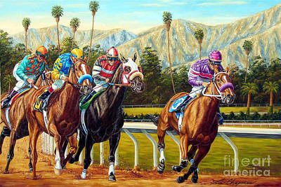 Horse Racing Painting - On The Turf At Santa Anita by Tom Chapman