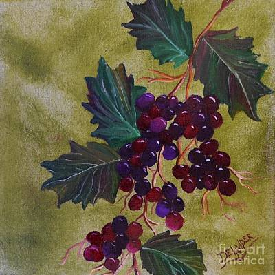 Purple Grapes Mixed Media - On The Vine 1 by Mary DeLawder