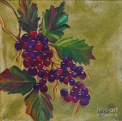 Purple Grapes Mixed Media - On The Vine 2 by Mary DeLawder