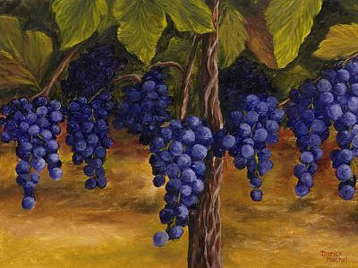 Blue Grapes Painting - On The Vine by Darice Machel McGuire