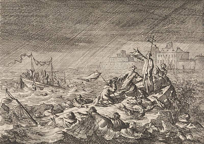 Tornado Drawing - On The Vistula In Warsaw Poland, Two Ships With Clergy by Caspar Luyken And Pieter Van Der Aa I