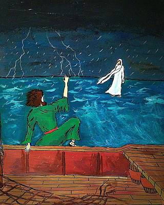 Christ Walking On Water Painting - On The Water by David Hannah