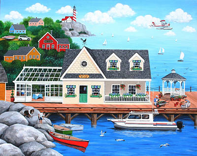 Folk Art Painting - On The Waterfront by Wilfrido Limvalencia