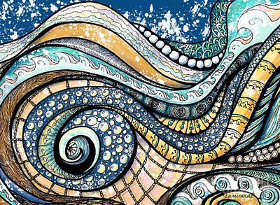 Zentangles Digital Art - On The Wave - Sur La Vague by Louise Lamirande