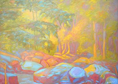 Expressionist Creek Oil Painting - On The Way To The Cascades by Kendall Kessler