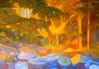 Expressionist Creek Oil Painting - On The Way To The Cascades Sketch by Kendall Kessler