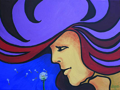 Peter Max Painting - On The Wind by Jim Bowers