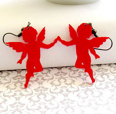Perspex Jewelry Jewelry - On The Wings Of Love - Red Angel Earrings by Rony Bank