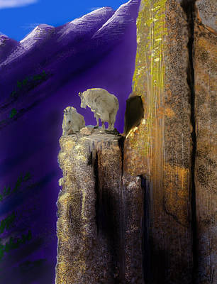 Mountain Goat Digital Art - On Top Of The World by J Griff Griffin