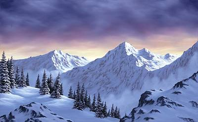 Winter Scene Painting - On Top Of The World by Rick Bainbridge