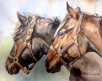 Two Heads Painting - Horse In Watercolor On Watch by Maria's Watercolor