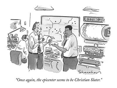 Earthquake Drawing - Once Again, The Epicenter Seems To Be Christian by Danny Shanahan