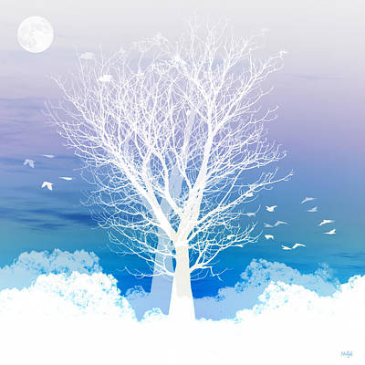 Moody Trees Rights Managed Images - Once upon a moon lit night... Royalty-Free Image by Holly Kempe