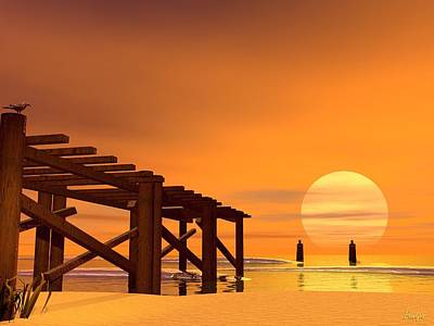 Digital Art - Once Upon A Pier by John Pangia