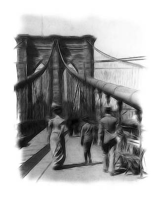 Brooklyn Bridge Drawing - Once Upon A Time by Steve K