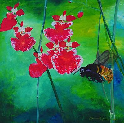 Painting - Oncidium Battles The Bee by Arianne Lequay