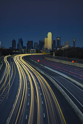 Dallas Skyline Wall Art - Photograph - Oncoming Traffic by Rick Berk