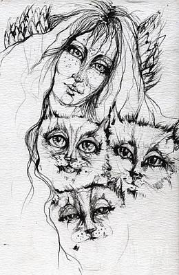 One Angel Three Cats Art Print by Angel  Tarantella