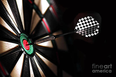Round Photograph - One Arrow In The Centre Of A Dart Board by Michal Bednarek