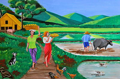 Baskets Painting - One Beautiful Morning In The Farm by Cyril Maza