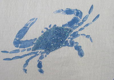 Painting - One Blue Crab On Sand by Ashley Goforth