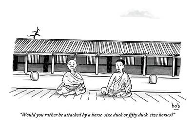 Meditation Drawing - One Buddhist Monk Asks Another While Meditating by Bob Eckstein