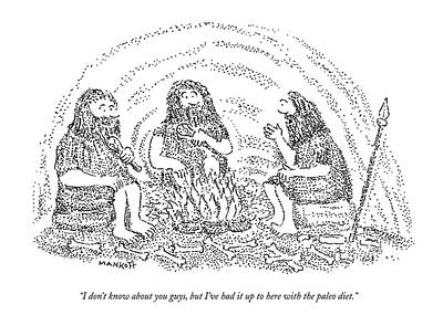 Healthy Drawing - One Caveman Talks To Another Who Is Eating by Robert Mankoff