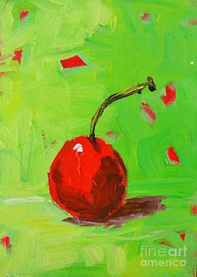 One Cherry Modern Art Art Print by Patricia Awapara