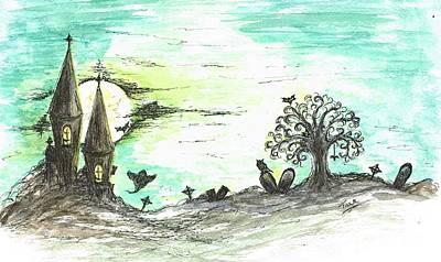 Tombs Mixed Media - One Creepy Night by Teresa White