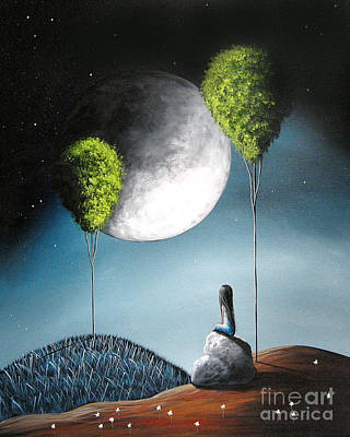 Large Moon Painting - One Day She'll See You In Heaven By Shawna Erback by Shawna Erback