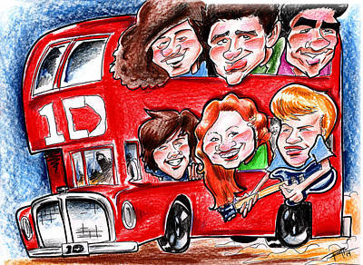 Drawing - One Direction by Big Mike Roate