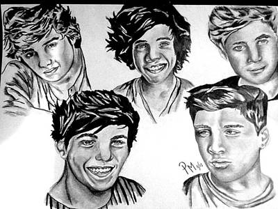 Niall Drawing - One Direction by Pauline Murphy