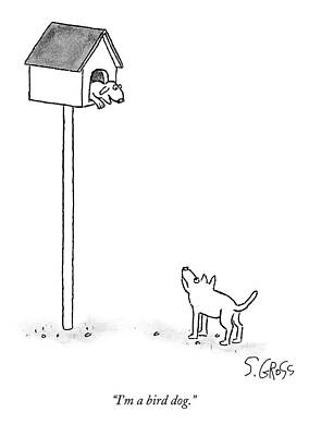 Drawing - One Dog Is In A Bird House While Another Looks by Sam Gross
