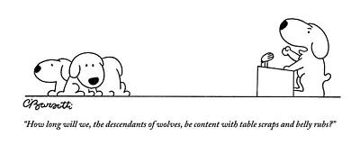Speeches Drawing - One Dog Speaks On A Podium To Several by Charles Barsotti